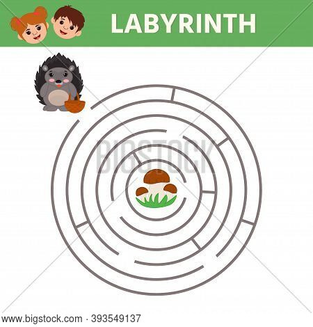 Maze. Game For Kids. Find The Right Path From Hedgehog To Mushroom. Preschool Worksheet Activity. Ch