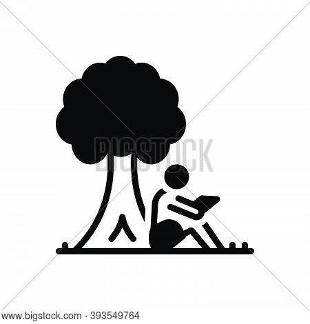 Black Solid Icon For Read-under-tree Read Under Tree Book Education Campus Lonely Garden Branch Ency