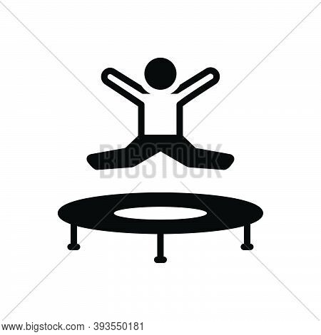 Black Solid Icon For Jumping Jump-up Jump Joy Leaping Spurt Skipjack Kid Bounce Playful Youth Play G