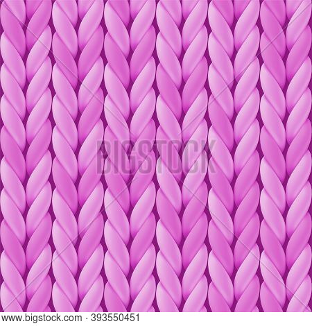 Knitted Seamless Pattern With Pink Woolen Cloth. Realistic Yarn Texture. Vector Illustration For Bac