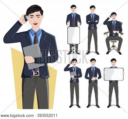Business Man Characters Vector Set. Businessman Male Character In Presenting Pose And Gestures For D