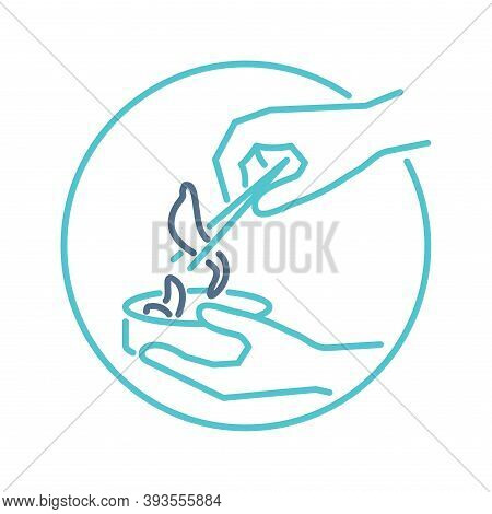 Hirudotherapy (leeching) Icon  - Hand With Tweezers Holds Leech - Isolated Vector Thin-line Medical