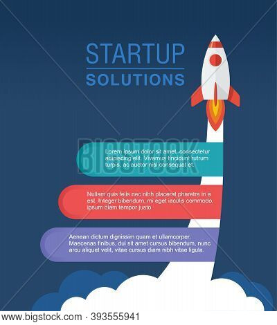 Startup Infographic Concept With Three Step By Step Solutions And Space Rocket Launch - Vector Templ