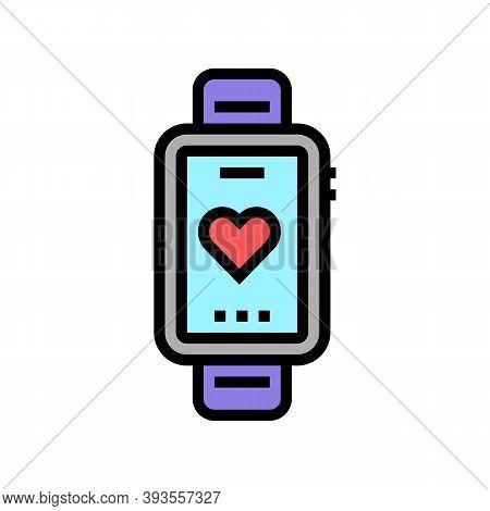 Heart Rhythm Watch Color Icon Vector. Heart Rhythm Watch Sign. Isolated Symbol Illustration