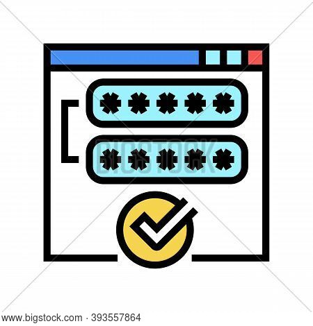 Access Password Accepted Color Icon Vector. Access Password Accepted Sign. Isolated Symbol Illustrat