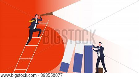 Business Vision, Business Risk Protection. Businessman Holds Graph Columns That Have Fallen As Resul