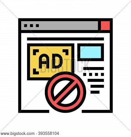Blocked Ads Web Site Color Icon Vector. Blocked Ads Web Site Sign. Isolated Symbol Illustration