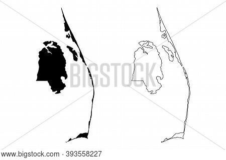 Dare County, North Carolina State (u.s. County, United States Of America, Usa, U.s., Us) Map Vector