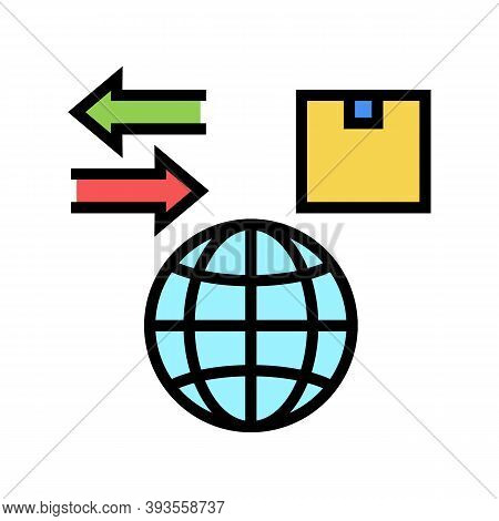 World Import And Export Color Icon Vector. World Import And Export Sign. Isolated Symbol Illustratio