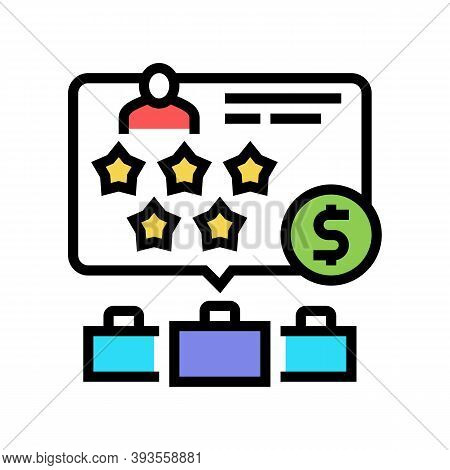 Past Employers Review Color Icon Vector. Past Employers Review Sign. Isolated Symbol Illustration