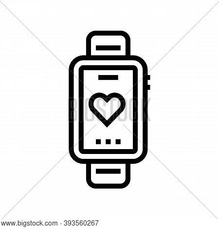 Heart Rhythm Watch Line Icon Vector. Heart Rhythm Watch Sign. Isolated Contour Symbol Black Illustra