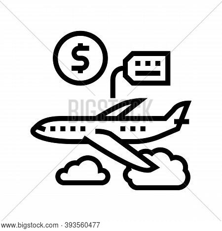 Airplane Rental Line Icon Vector. Airplane Rental Sign. Isolated Contour Symbol Black Illustration