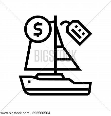Boat Rental Line Icon Vector. Boat Rental Sign. Isolated Contour Symbol Black Illustration