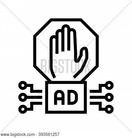Advertisement Block Technology Line Icon Vector. Advertisement Block Technology Sign. Isolated Conto