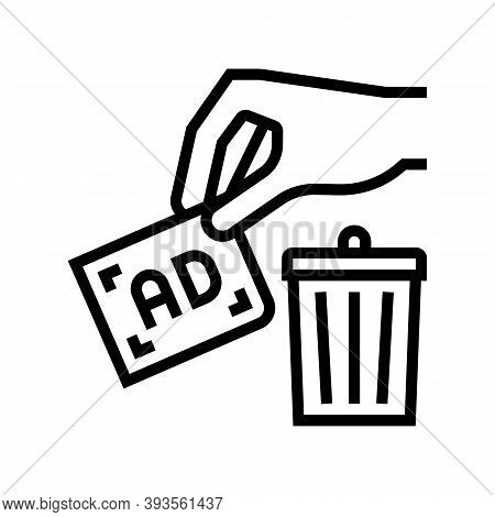 Toss Out Advertisement Line Icon Vector. Toss Out Advertisement Sign. Isolated Contour Symbol Black