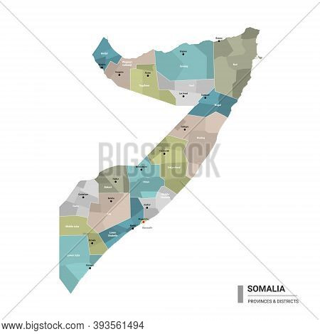 Somalia Higt Detailed Map With Subdivisions. Administrative Map Of Somalia With Districts And Cities