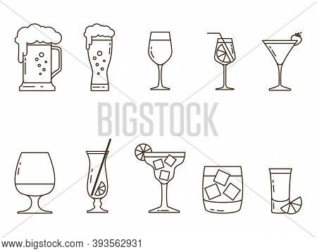 Set Of Icons Of Alcoholic Drinks And Utensils From The Contours Without Color. Vector Illustration.