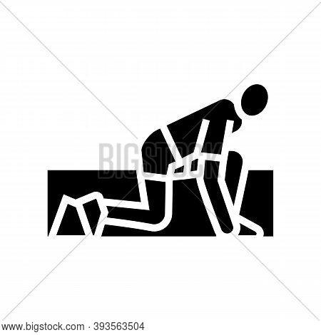 Runner Start Glyph Icon Vector. Runner Start Sign. Isolated Contour Symbol Black Illustration