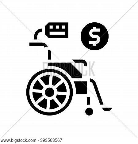 Wheel Chair Rental Glyph Icon Vector. Wheel Chair Rental Sign. Isolated Contour Symbol Black Illustr