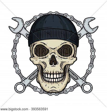 Skull In Black Hat With Wrenche. Vector Skull With Spanner.