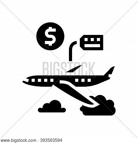 Airplane Rental Glyph Icon Vector. Airplane Rental Sign. Isolated Contour Symbol Black Illustration