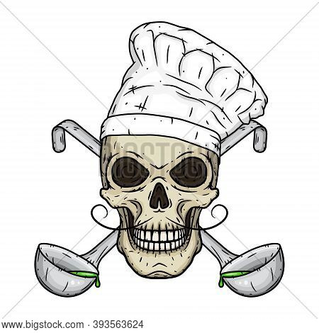 Chef Skull. Skull In Toque With Crossed Serving Spoon.