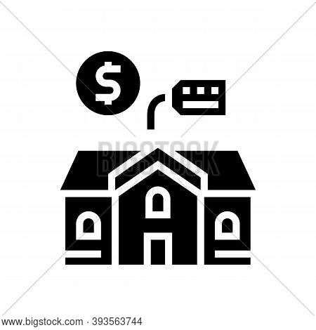 House Building Rental Glyph Icon Vector. House Building Rental Sign. Isolated Contour Symbol Black I