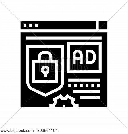 Blocked And Protecton For Advertisement Glyph Icon Vector. Blocked And Protecton For Advertisement S