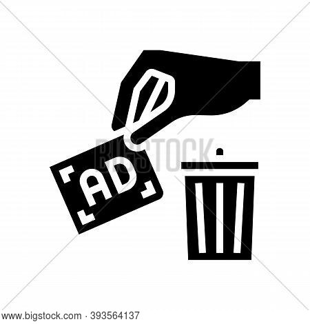 Toss Out Advertisement Glyph Icon Vector. Toss Out Advertisement Sign. Isolated Contour Symbol Black