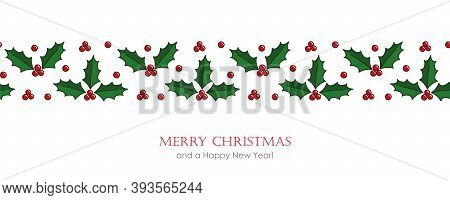 Christmas Card With Seamless Holly Berry Border Vector Illustration Eps10