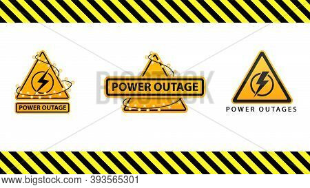 Power Outage, Collection Yellow Warning Signs Wrapped With Garland On The White Background Isolated