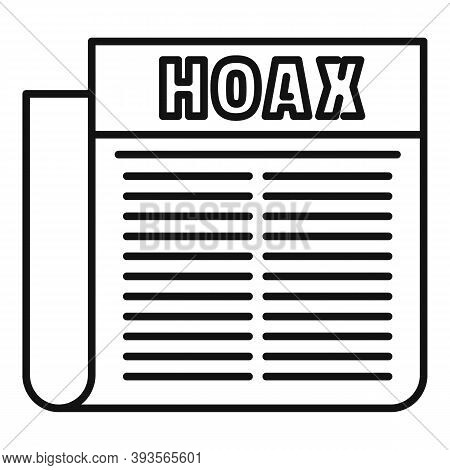 Hoax Newspaper Icon. Outline Hoax Newspaper Vector Icon For Web Design Isolated On White Background
