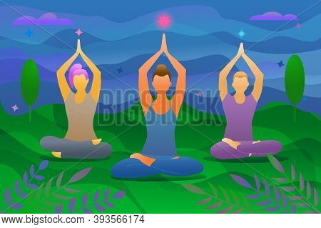 Meditation And Yoga For Three People Of Different Genders And Skin Colors. A Dark-skinned Girl Is Me