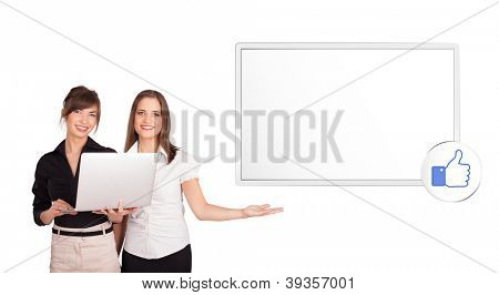 Beutiful young women presenting modern copy space isolated on white