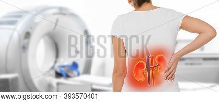 Medicine Poster For Ct Scan Kidney. Woman With Kidney Pain Standing Near A Tomography Machine