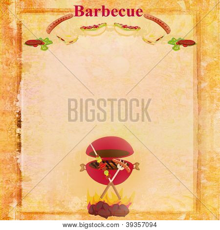 Barbecue Party Invitation with copy space , raster poster