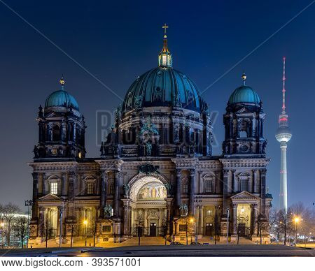 Berlin / Germany - February 13, 2017: Night View Of Berlin Cathedral (berliner Dom) In The Mitte His