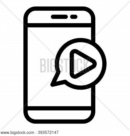 Phone Video Play Icon. Outline Phone Video Play Vector Icon For Web Design Isolated On White Backgro