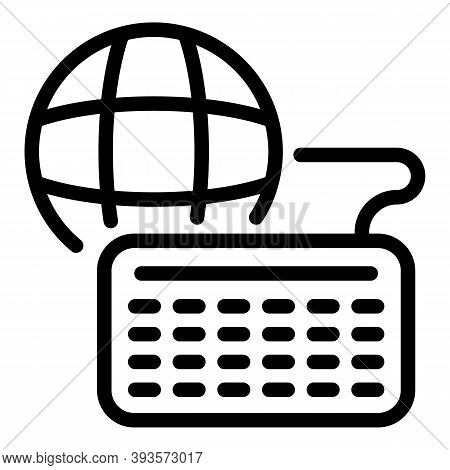Global Online Course Icon. Outline Global Online Course Vector Icon For Web Design Isolated On White
