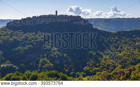 Side View Of The Town Of Civita Di Bagnoregio Also Known As