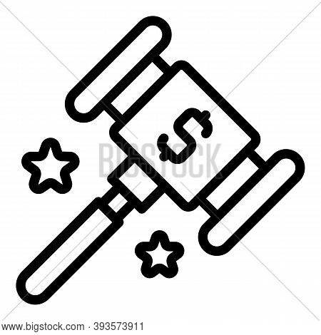 Auction Hammer Icon. Outline Auction Hammer Vector Icon For Web Design Isolated On White Background