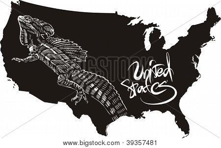 Basilisk And U.s. Outline Map