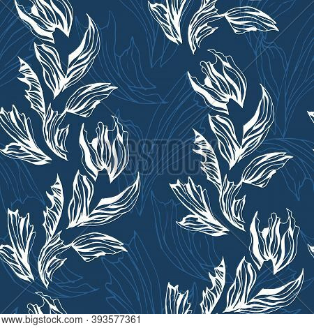 Frosty Seamless Pattern Of White Flowers On A Blue Background. Winter Floral Texture For Fabric, Pap