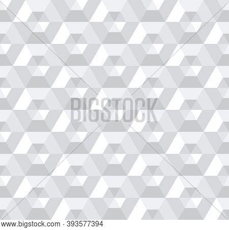 Seamless geometric pattern. 3D illusion. White textured background.