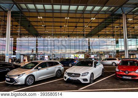 Schönefeld, Germany - November 1, 2020 - Parking Lot In Front Of Terminal 1 At Berlin Brandenburg Ai