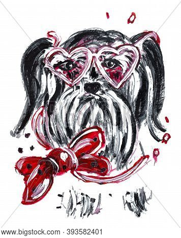 Portrait Of Mini Schnauzer In Watercolor. Hand Drawn Dog With Pink Heart Shaped Glasses And A Bow On