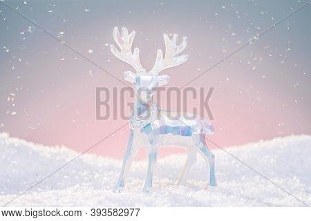 Christmas Ornament Deer Figurine In Pastel Neon Colors.
