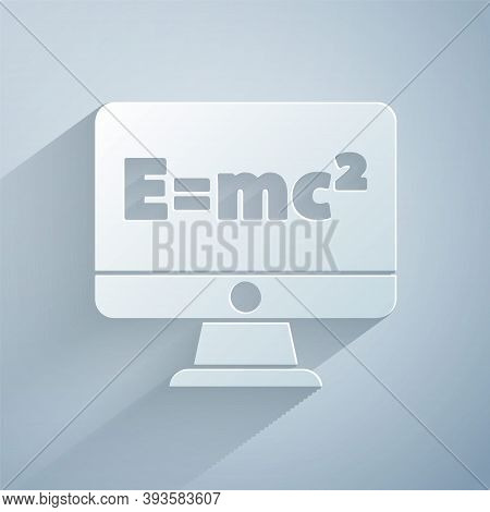 Paper Cut Math System Of Equation Solution On Computer Monitor Icon Isolated On Grey Background. E E