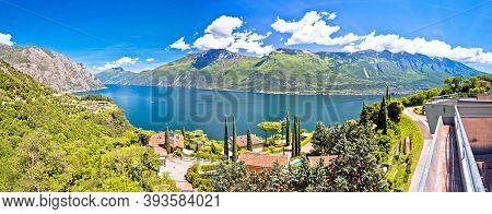 Lago Di Garda Lake Panoramic Scenic View, Limone Sul Garda, Lombardia Region Of Italy