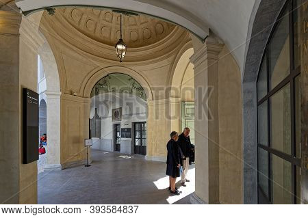 Lyon, France, March 31, 2019 : An Entrance Of New Hôtel-dieu Recently Converted In A Commercial And